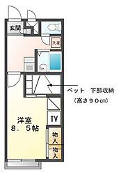 兵庫県赤穂市上仮屋の賃貸アパートの間取り