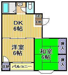 奥田マンション[2階]の間取り