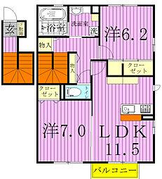 ラ・フルールB[2階]の間取り