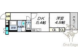 イーストヴィラ梅田 7階1DKの間取り