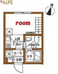 グランビュー横濱元町 2階ワンルームの間取り