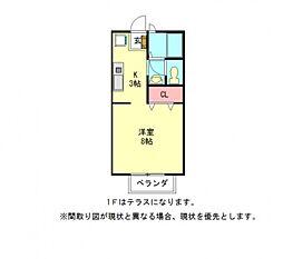 愛知県岩倉市中央町1丁目の賃貸アパートの間取り