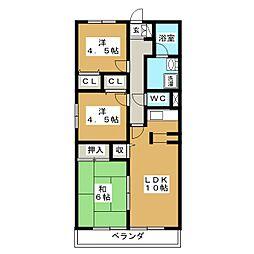 ルシード上飯田[2階]の間取り