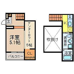 名古屋市営東山線 高畑駅 徒歩10分の賃貸アパート 1階1SKの間取り