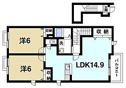 サン フォレスト 2階2LDKの間取り