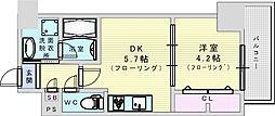 サンセール吹田 6階1DKの間取り