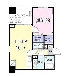 都営大江戸線 勝どき駅 徒歩12分の賃貸マンション 4階1LDKの間取り