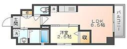 岡山電気軌道清輝橋線 東中央町駅 徒歩4分の賃貸マンション 7階1LDKの間取り