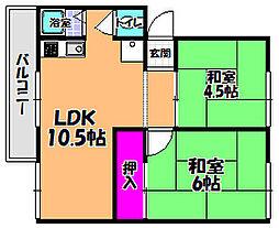 商工会マンション 2棟[1階]の間取り