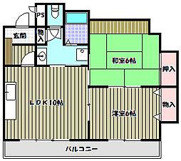リアンジェ富田林[7階]の間取り