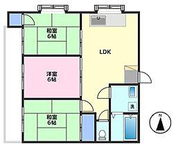 セゾン芦山[2階]の間取り