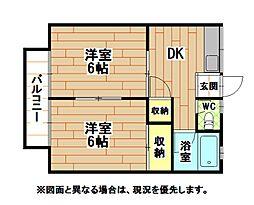 福岡県北九州市小倉南区湯川2丁目の賃貸アパートの間取り