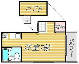 東京都目黒区鷹番3丁目の賃貸アパートの間取り