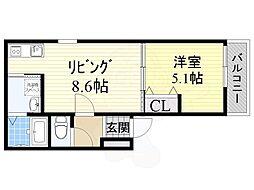 阪神本線 尼崎駅 徒歩7分の賃貸アパート 3階1LDKの間取り