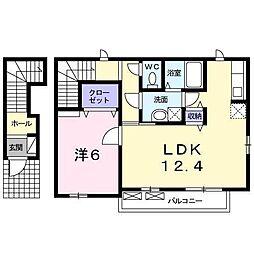 広島県福山市手城町4丁目の賃貸アパートの間取り