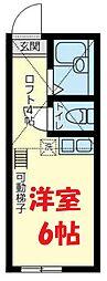 JR横須賀線 保土ヶ谷駅 徒歩10分の賃貸アパート 1階ワンルームの間取り