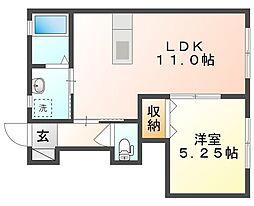 JR山陽本線 庭瀬駅 徒歩10分の賃貸アパート 1階1LDKの間取り