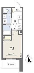 荒町賃貸住宅 2階1Kの間取り