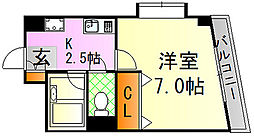 JR山陽新幹線 広島駅 徒歩22分の賃貸マンション 1階1Kの間取り