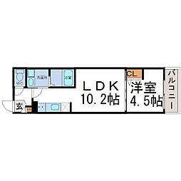 兵庫県尼崎市北大物町の賃貸アパートの間取り