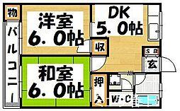 福岡県春日市上白水6丁目の賃貸マンションの間取り