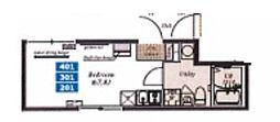 都営浅草線 中延駅 徒歩6分の賃貸マンション 2階ワンルームの間取り