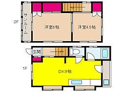 阪神本線 新在家駅 徒歩5分の賃貸一戸建て 1階2DKの間取り