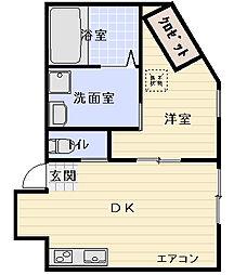 守口市梅園町テラスハウス 1階1DKの間取り
