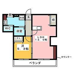 やすいコーポ[4階]の間取り