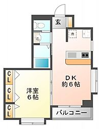 プロスパー江坂[5階]の間取り