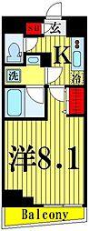 都営大江戸線 両国駅 徒歩4分の賃貸マンション 2階1Kの間取り