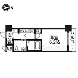 JR東海道・山陽本線 京都駅 徒歩8分の賃貸マンション 3階1Kの間取り