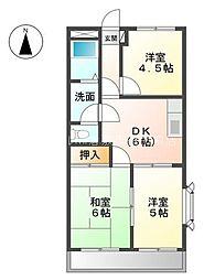 岡山県倉敷市西富井の賃貸マンションの間取り
