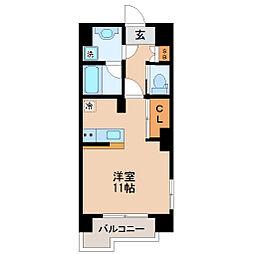 仙台市営南北線 北四番丁駅 徒歩16分の賃貸マンション 6階ワンルームの間取り