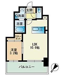 ビエネスタ千代県庁口 9階1LDKの間取り