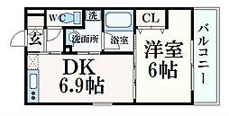 JR東海道・山陽本線 六甲道駅 徒歩5分の賃貸マンション 5階1DKの間取り