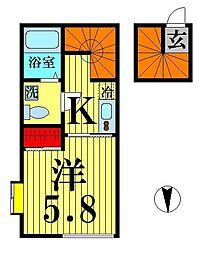 東京都足立区栗原2の賃貸アパートの間取り