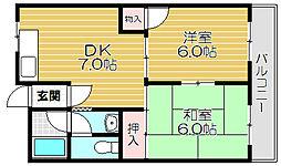 京阪本線 西三荘駅 徒歩15分の賃貸マンション 3階2DKの間取り