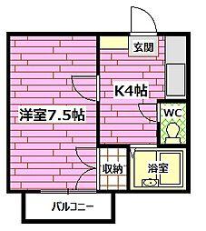 エスポアールM[1階]の間取り