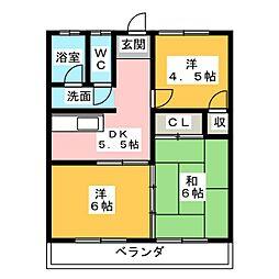 下佐野第二コーポ[1階]の間取り