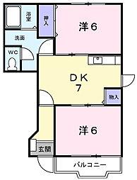 カルフ−ルK[1階]の間取り