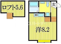 モアナ 2階ワンルームの間取り