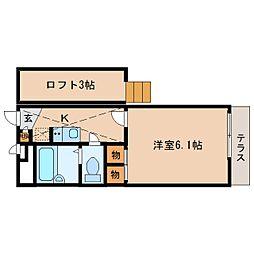 近鉄生駒線 信貴山下駅 徒歩13分の賃貸アパート 2階1Kの間取り