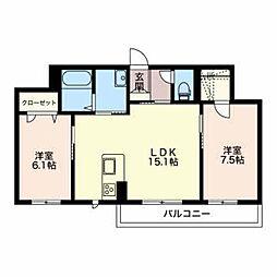 長野県長野市三本柳東3丁目の賃貸アパートの間取り