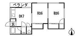 あたらしやアパート[201号室]の間取り
