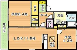 ディアス茶屋の原 B棟[1階]の間取り