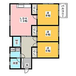 ラサタII[2階]の間取り