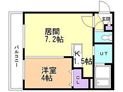 TSUBAKI SQUARE静修学園前 4階1LDKの間取り