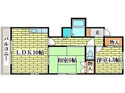 ニューコーポ平岡[2階]の間取り