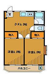 東京都国分寺市東元町4丁目の賃貸アパートの間取り